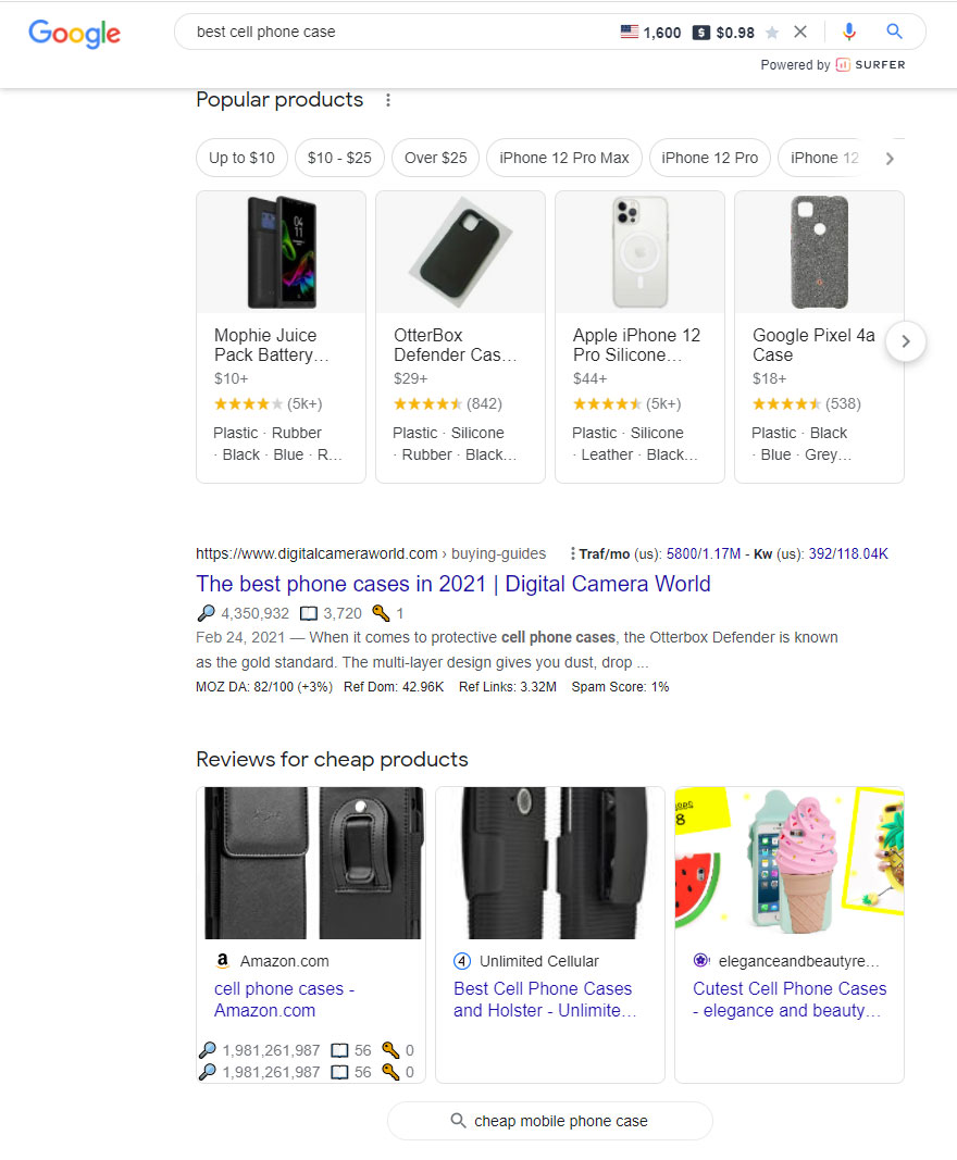 google cheap products carousel